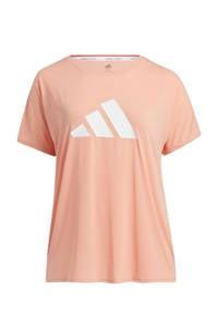 adidas Performance Plus Size sport T-shirt roze/wit, Roze/wit