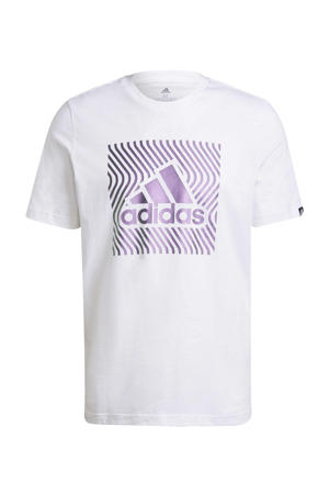 sport T-shirt wit/paars