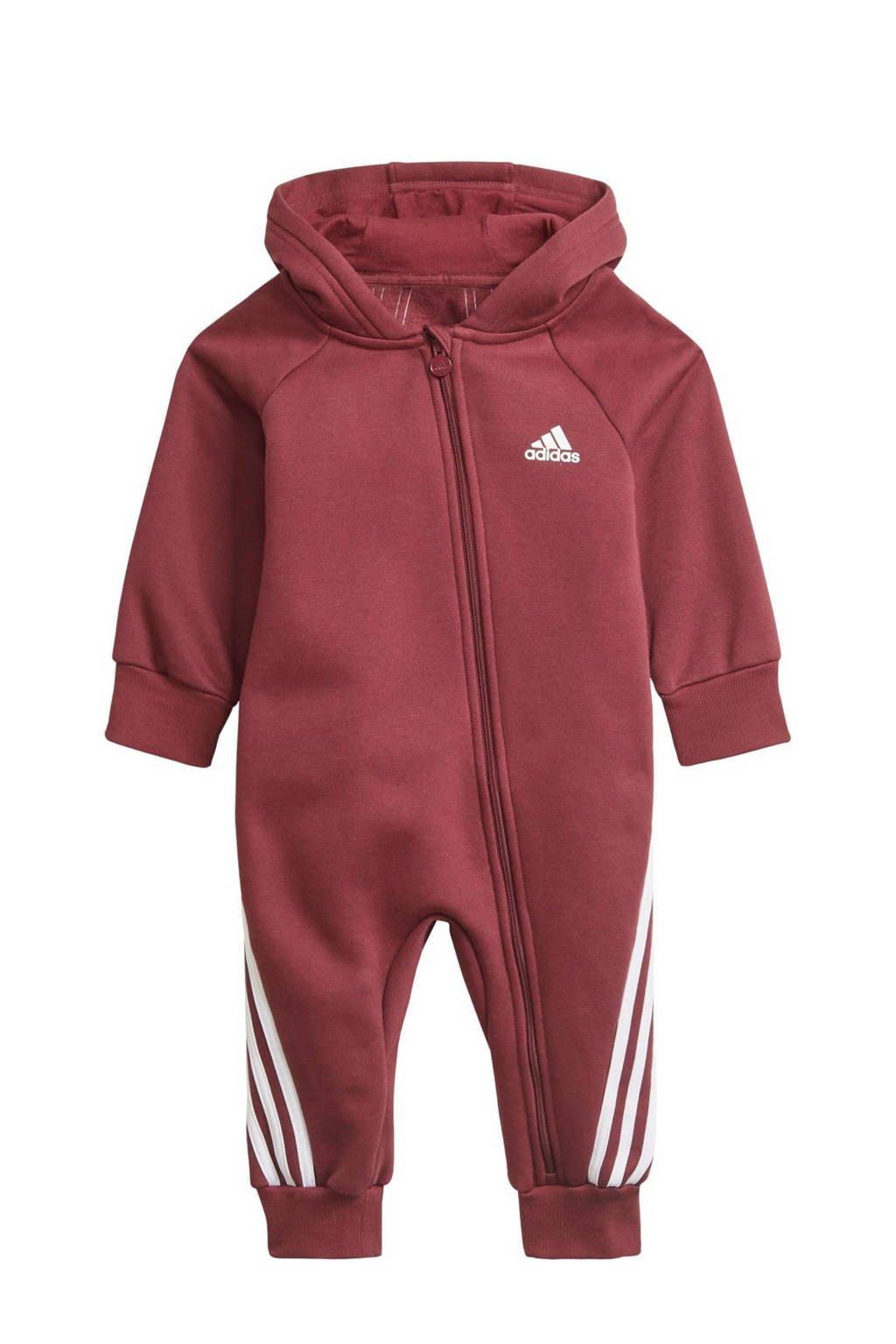 adidas Performance fleece onesie donkerrood/wit, Donkerrood/wit
