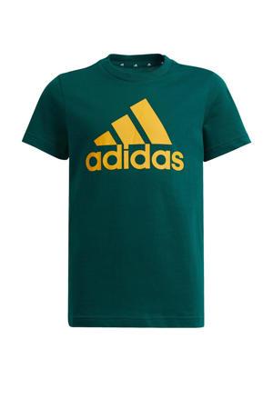 sport T-shirt donkergroen/goud