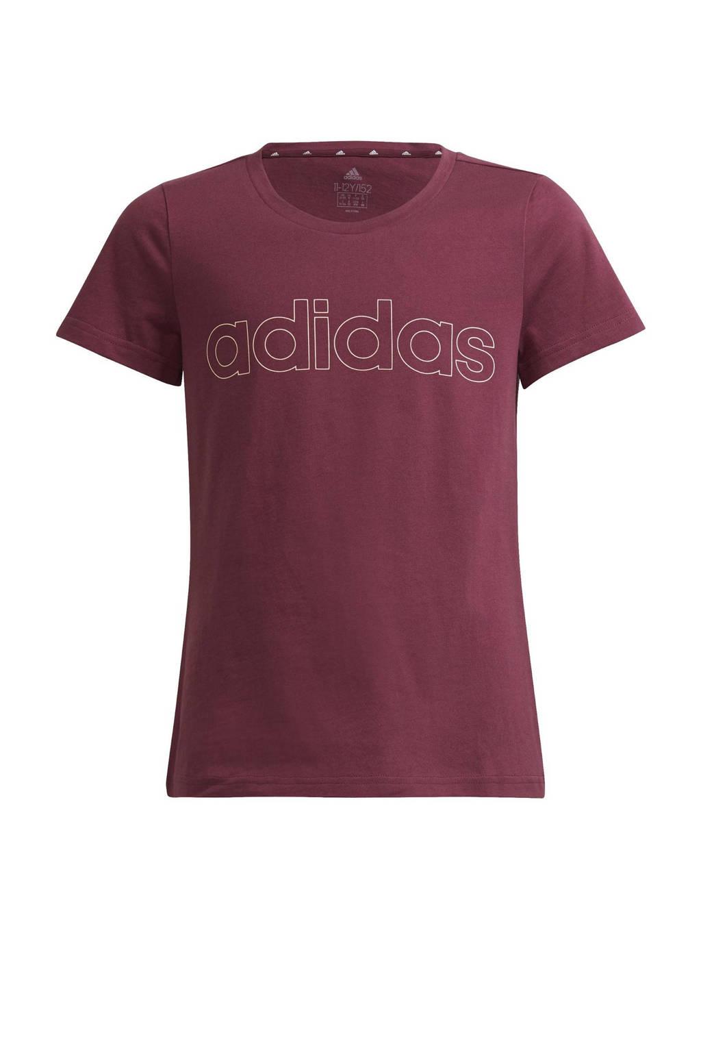 adidas Performance sport T-shirt donkerrood/lichtoranje