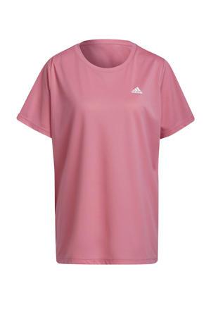 Plus Size sport T-shirt lichtroze/wit