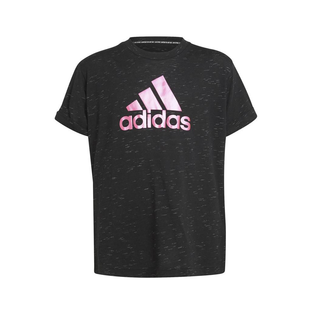 adidas Performance sport T-shirt zwart/fuchsia, Zwart/fuchsia