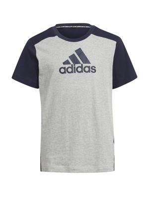 sport T-shirt grijs melange/donkerblauw