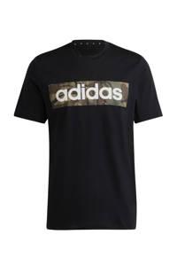adidas Performance   sport T-shirt zwart/groen, Zwart/groen