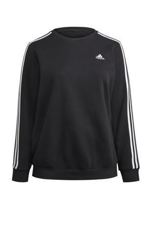 Plus Size fleece sportsweater zwart/wit