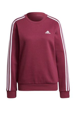 fleece sportsweater donkerrood/wit