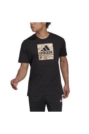 sport T-shirt zwart/beige