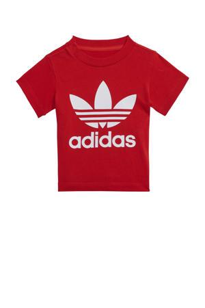 Adicolor T-shirt rood/wit