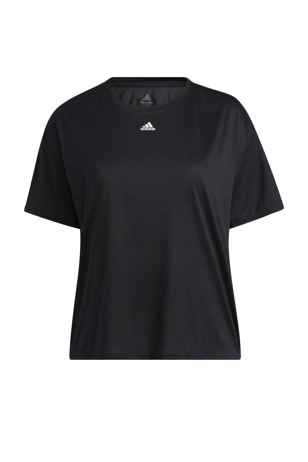 adidas Performance Plus Size sport T-shirt zwart, Zwart