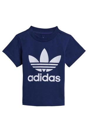 Adicolor T-shirt donkerblauw/wit