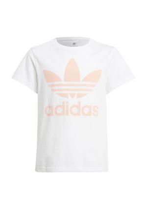 Adicolor T-shirt wit/lichtroze