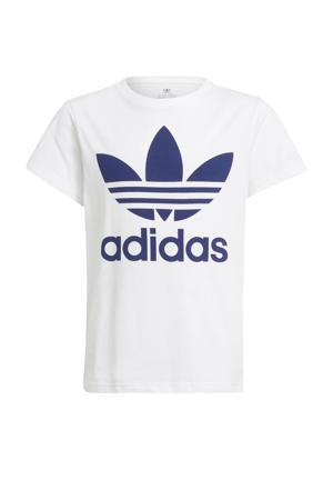 Adicolor T-shirt wit/donkerblauw