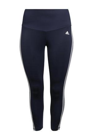 Plus Size 7/8 sportlegging donkerblauw/wit