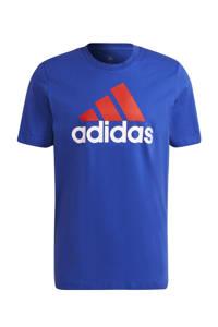 adidas Performance   sport T-shirt kobaltblauw/rood/wit, Kobaltblauw/rood/wit