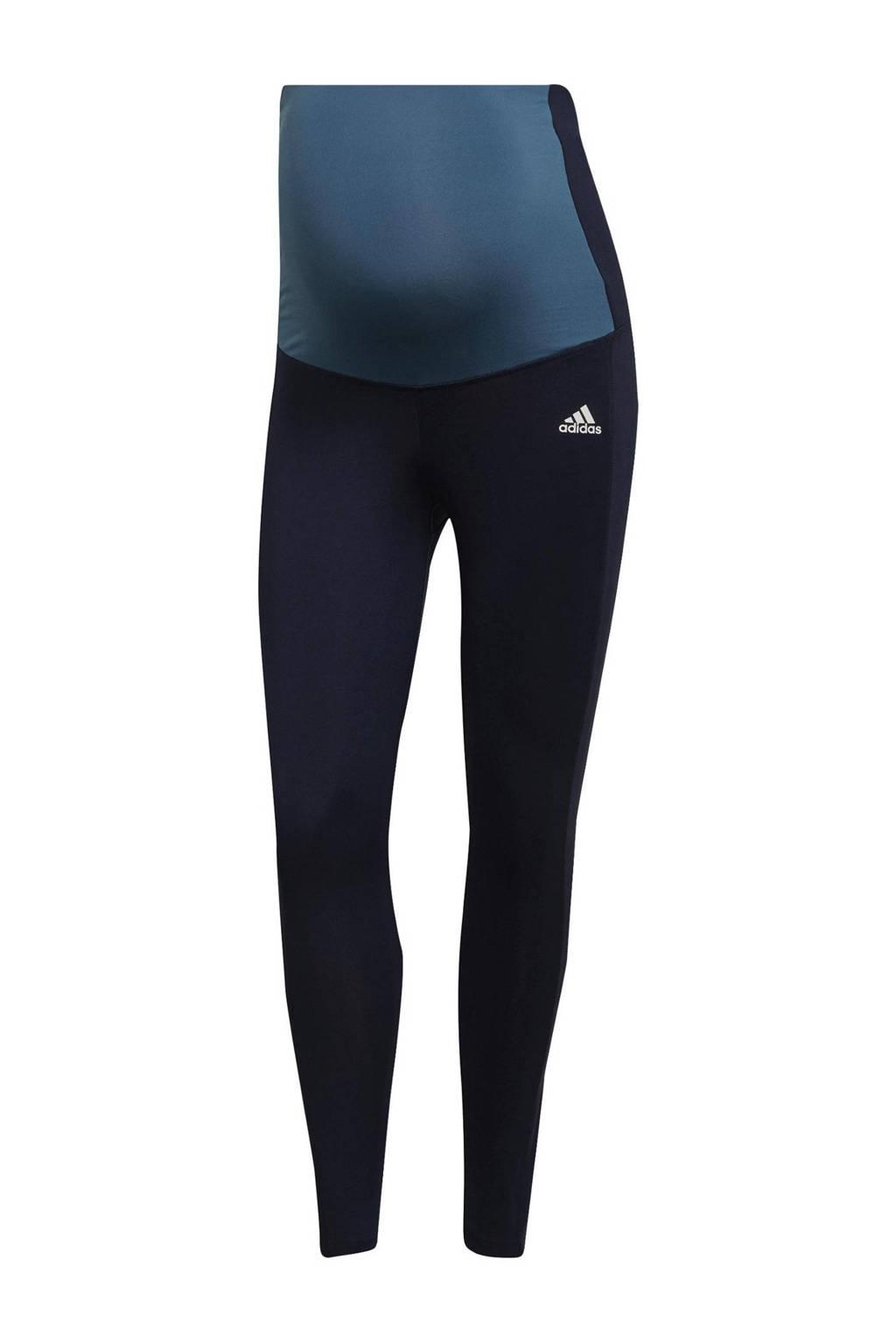 adidas Performance zwangerschapskleding zwangersschap sportlegging donkerblauw/lichtblauw/wit, Donkerblauw/lichtblauw/wit