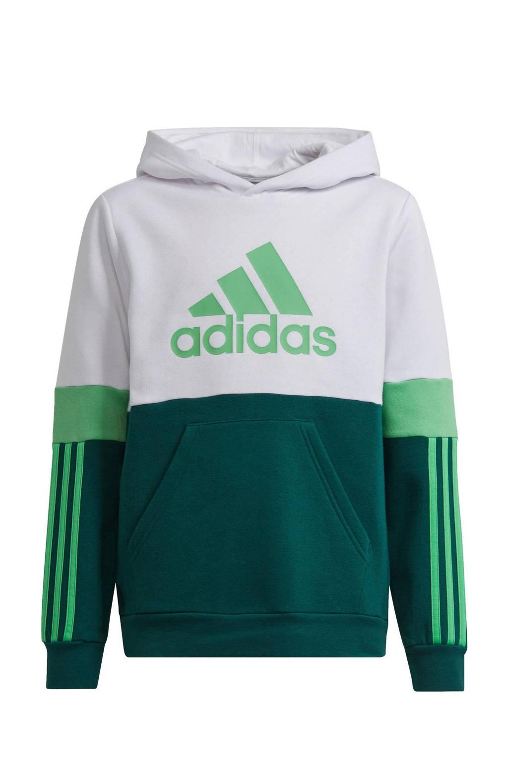 adidas Performance   fleece sportsweater donkergroen/wit/groen