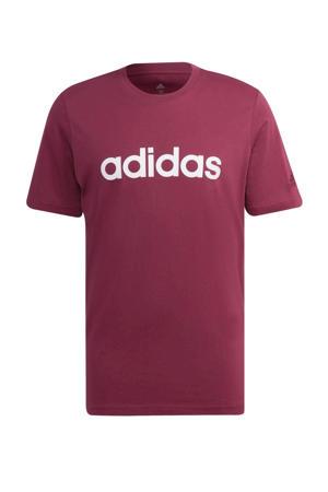 sport T-shirt donkerrood/wit
