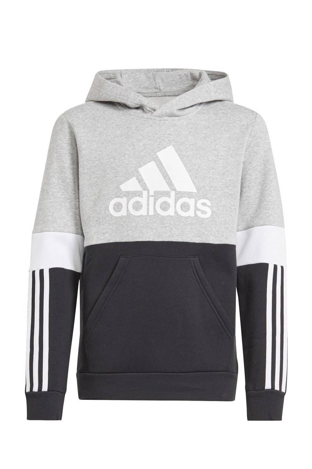 adidas Performance   fleece sportsweater zwart/grijs melange/wit, Zwart/grijs melange/wit