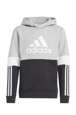 fleece sportsweater zwart/grijs melange/wit