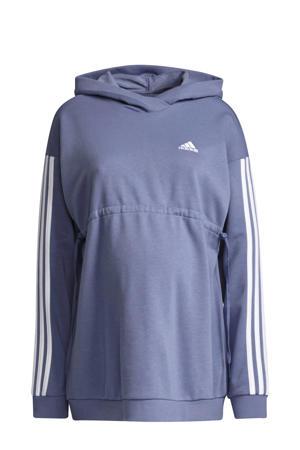 zwangerschapskleding zwangerschaps sportsweater paars/wit