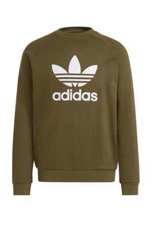Adicolor sweater olijfgroen/wit