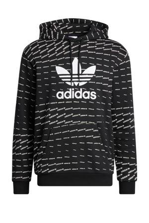 hoodie met all over print zwart/wit