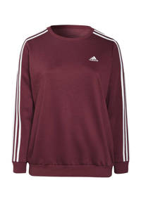 adidas Performance Plus Size fleece sportsweater donkerrood/wit, Donkerrood/wit