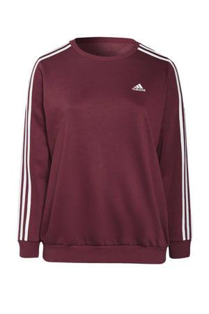 Plus Size fleece sportsweater donkerrood/wit