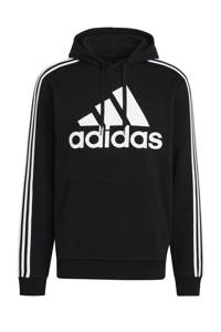 adidas Performance   fleece sportsweater zwart/wit, Zwart/wit