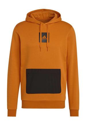 fleece sportsweater oranje/zwart