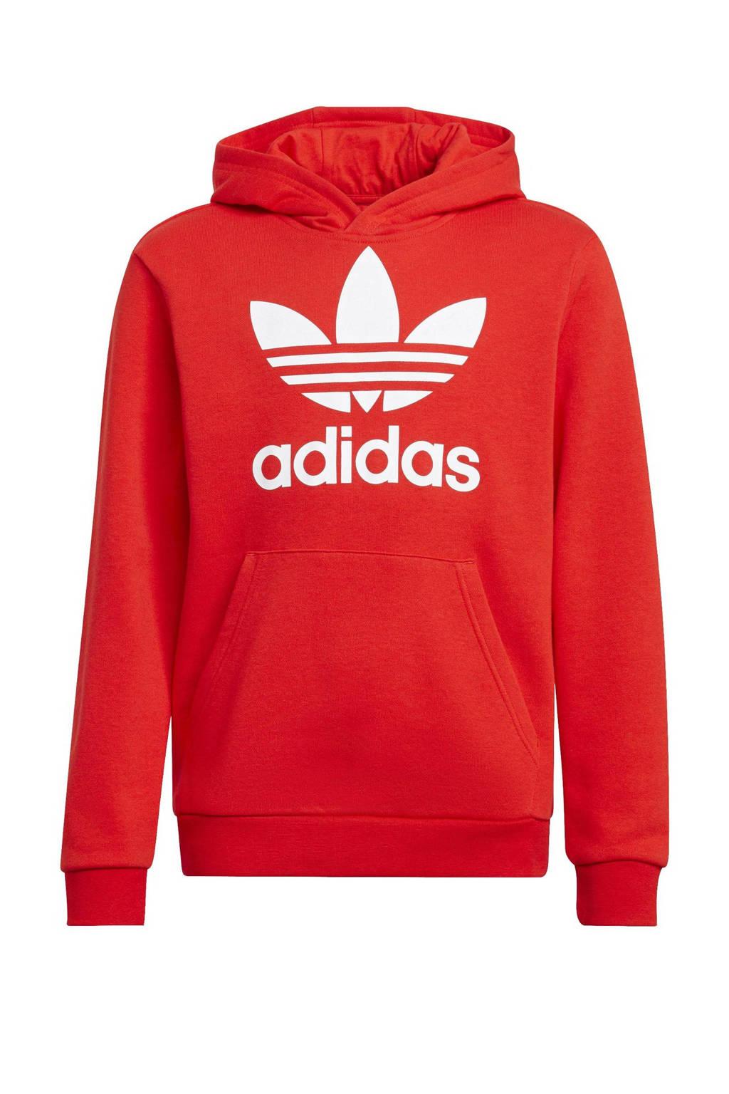 adidas Originals unisex Adicolor hoodie rood/wit, Rood/wit