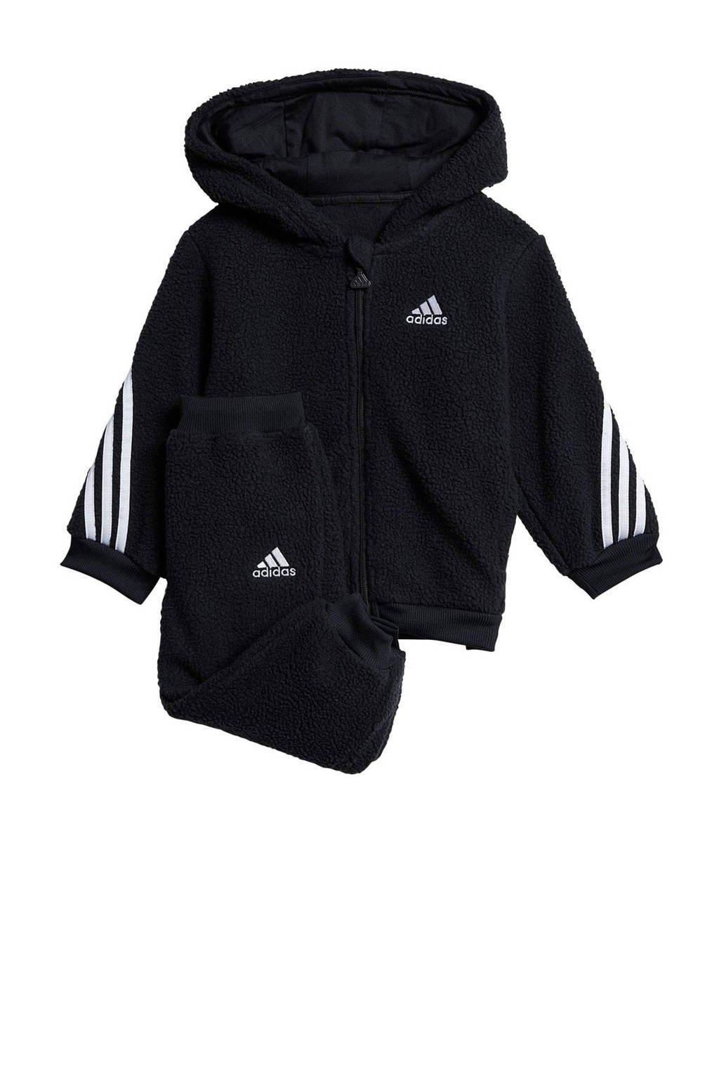 adidas Performance   fleece joggingpak zwart/wit, Zwart/wit