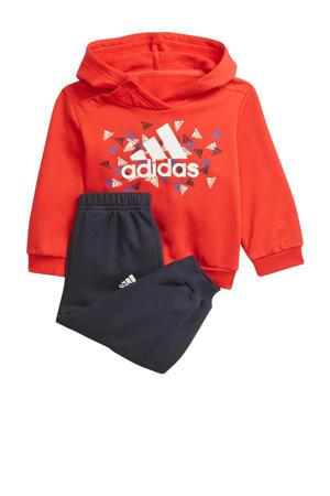 fleece joggingpak rood/wit/donkerblauw