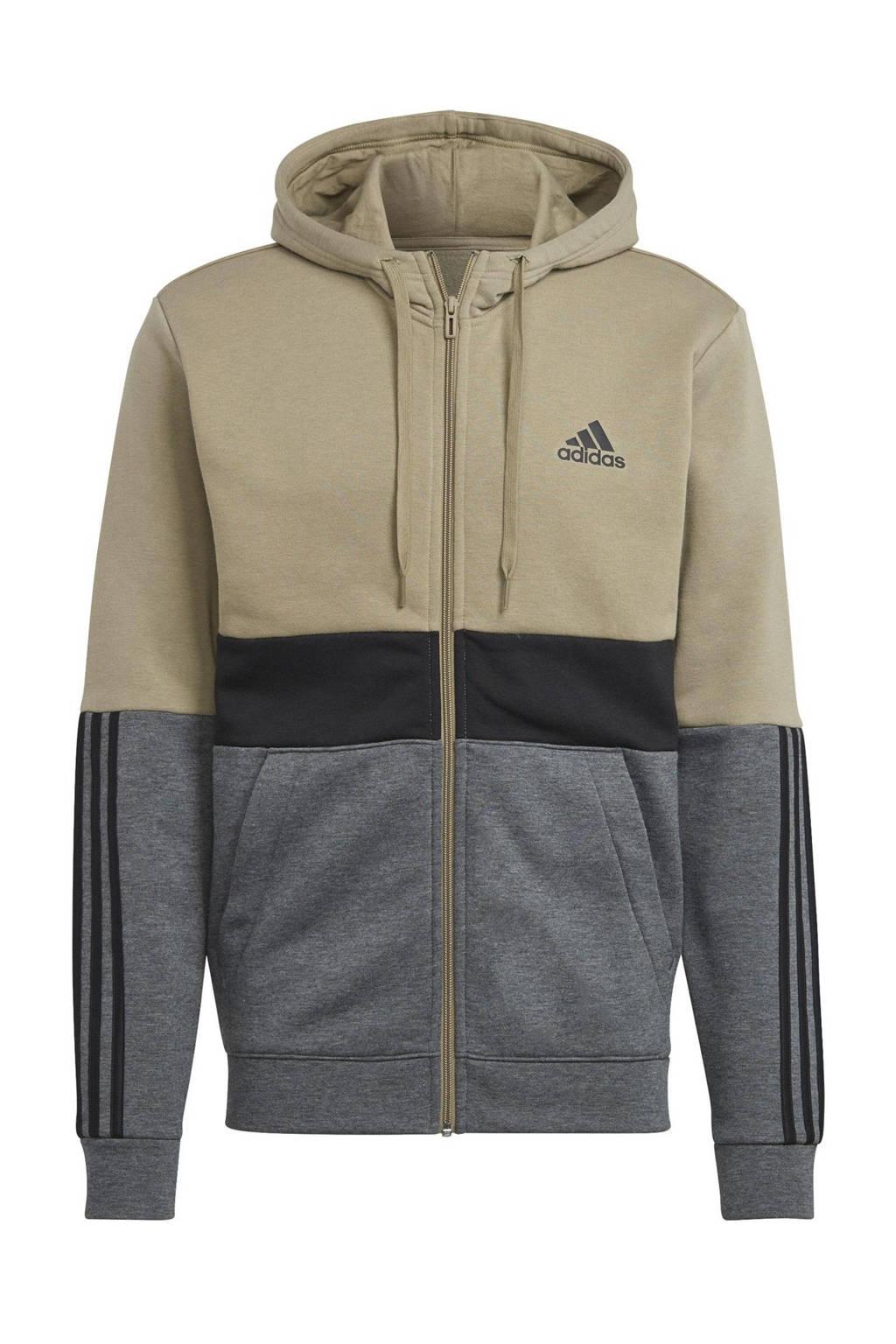 adidas Performance   fleece sportvest groen/zwart/grijs, Groen/zwart/grijs