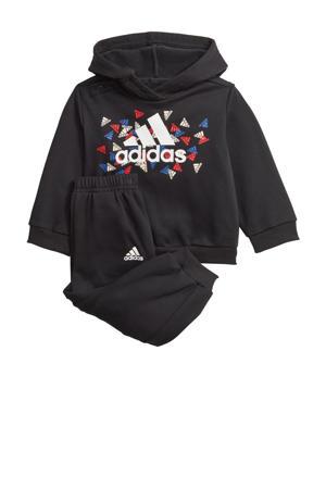 fleece joggingpak zwart/wit