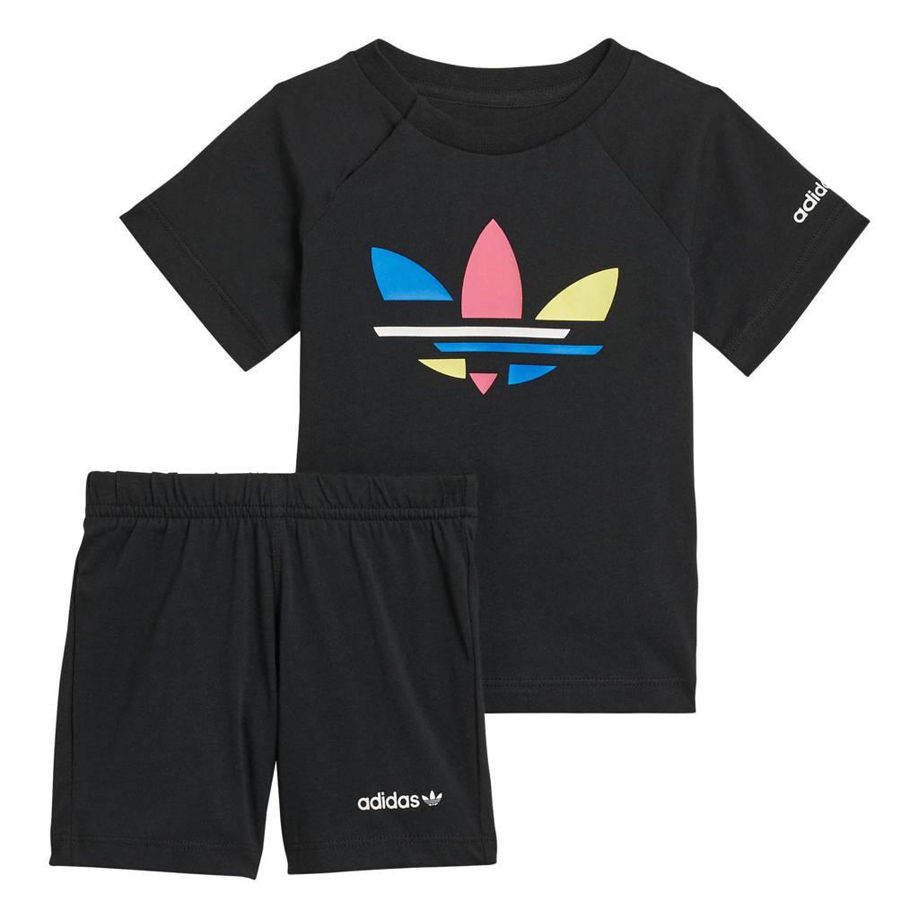 adidas Originals   Adicolor T-shirt en short donkerblauw/wit, Zwart
