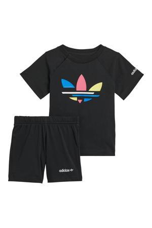 Adicolor T-shirt en short donkerblauw/wit