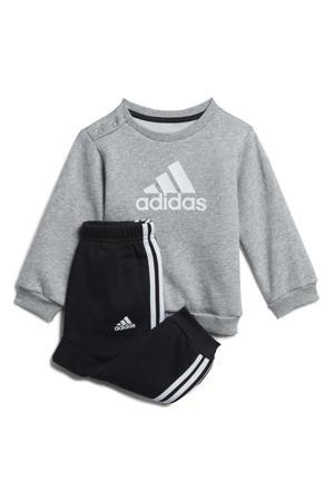 joggingpak grijs melange/wit/zwart