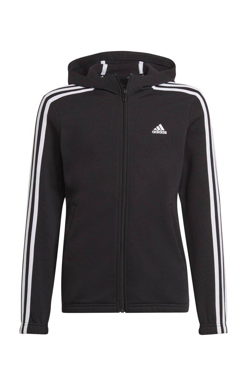 adidas Performance fleece sportvest zwart/wit, Zwart/wit
