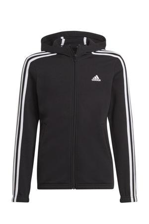 fleece sportvest zwart/wit
