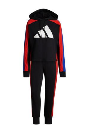 trainingspak zwart/rood/kobaltblauw