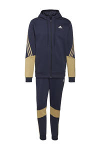 adidas Performance   fleece joggingpak donkerblauw/beige, Donkerblauw/Beige