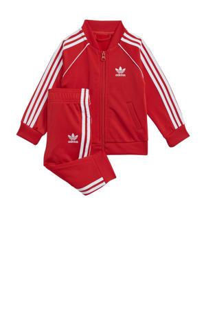 Super Star Adicolor trainingspak rood/wit