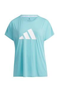 adidas Performance Plus Size sport T-shirt mintgroen/wit, Mintgroen/wit