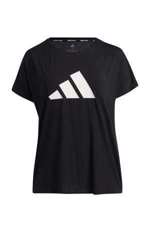 Plus Size sport T-shirt zwart/wit