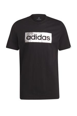 sport T-shirt zwart/zilver