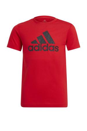 sport T-shirt rood/zwart