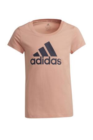 sport T-shirt roze/donkerblauw