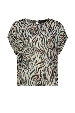 top met zebraprint grijsgroen/zwart/bruin